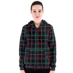 Plaid Tartan Checks Pattern Women s Zipper Hoodie