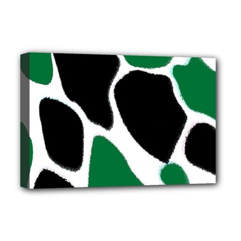 Green Black Digital Pattern Art Deluxe Canvas 18  X 12   by Nexatart