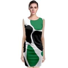 Green Black Digital Pattern Art Classic Sleeveless Midi Dress