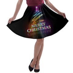 Merry Christmas Abstract A-line Skater Skirt by Nexatart