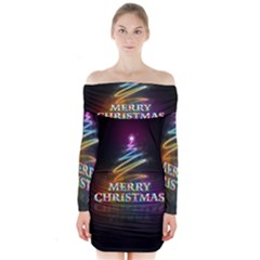 Merry Christmas Abstract Long Sleeve Off Shoulder Dress by Nexatart