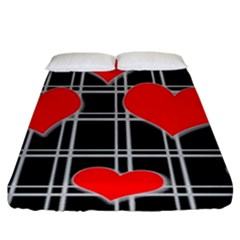 Red Hearts Pattern Fitted Sheet (king Size) by Valentinaart