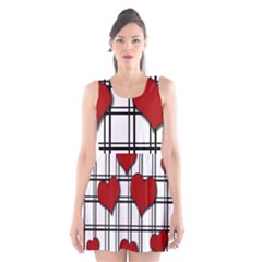 Hearts pattern Scoop Neck Skater Dress by Valentinaart