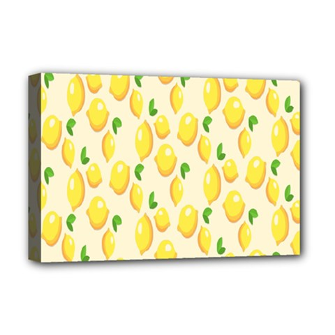Pattern Template Lemons Yellow Deluxe Canvas 18  X 12   by Nexatart