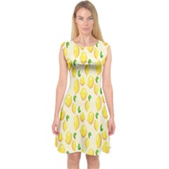 Pattern Template Lemons Yellow Capsleeve Midi Dress by Nexatart