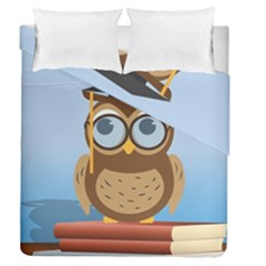 Read Owl Book Owl Glasses Read Duvet Cover Double Side (queen Size) by Nexatart