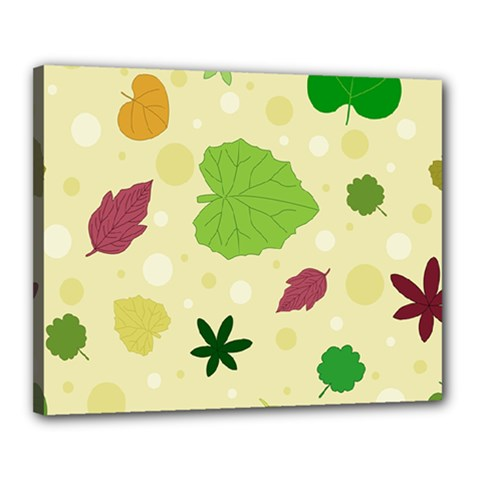 Leaves Pattern Canvas 20  X 16  by Nexatart