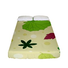 Leaves Pattern Fitted Sheet (full/ Double Size) by Nexatart