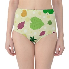 Leaves Pattern High-Waist Bikini Bottoms by Nexatart