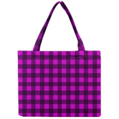 Magenta And Black Plaid Pattern Mini Tote Bag by Valentinaart