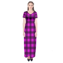 Magenta And Black Plaid Pattern Short Sleeve Maxi Dress