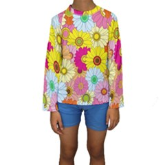 Floral Background Kids  Long Sleeve Swimwear by Nexatart