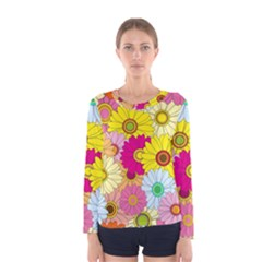 Floral Background Women s Long Sleeve Tee by Nexatart