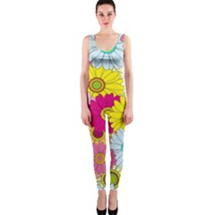 Floral Background Onepiece Catsuit by Nexatart