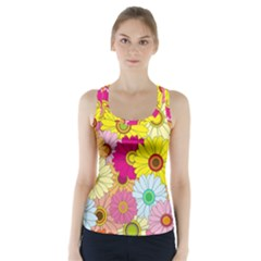 Floral Background Racer Back Sports Top by Nexatart