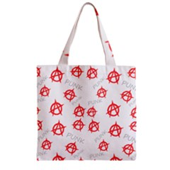 Punk Pattern Zipper Grocery Tote Bag by Valentinaart