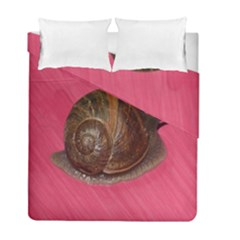 Snail Pink Background Duvet Cover Double Side (full/ Double Size) by Nexatart