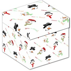 Snowman Christmas Pattern Storage Stool 12   by Nexatart