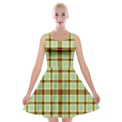 Geometric Tartan Pattern Square Velvet Skater Dress by Nexatart