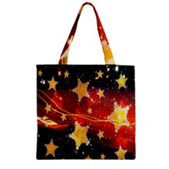 Holiday Space Zipper Grocery Tote Bag by Nexatart