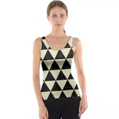 Triangle3 Black Marble & Beige Linen Tank Top
