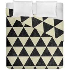 Triangle3 Black Marble & Beige Linen Duvet Cover Double Side (california King Size) by trendistuff