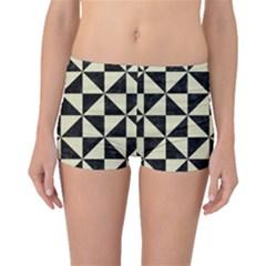 Triangle1 Black Marble & Beige Linen Boyleg Bikini Bottoms by trendistuff