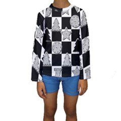 Xmas Checker Kids  Long Sleeve Swimwear