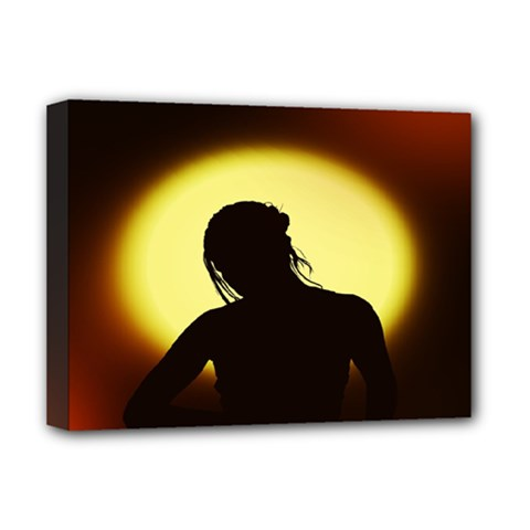 Silhouette Woman Meditation Deluxe Canvas 16  X 12