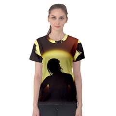 Silhouette Woman Meditation Women s Sport Mesh Tee