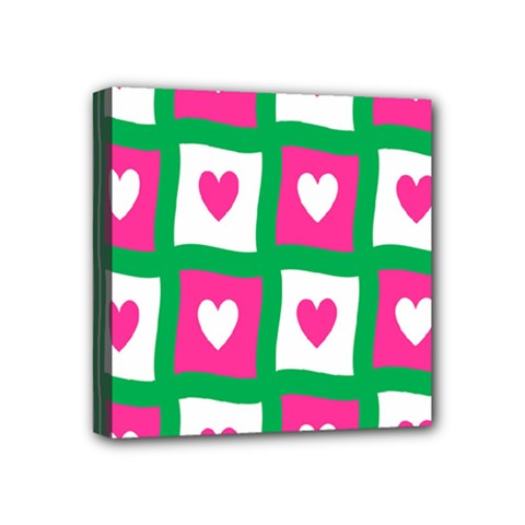 Pink Hearts Valentine Love Checks Mini Canvas 4  X 4