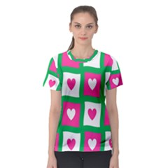 Pink Hearts Valentine Love Checks Women s Sport Mesh Tee