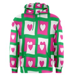 Pink Hearts Valentine Love Checks Men s Pullover Hoodie