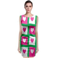 Pink Hearts Valentine Love Checks Classic Sleeveless Midi Dress