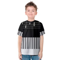 Piano Keyboard With Notes Vector Kids  Cotton Tee