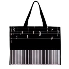Piano Keyboard With Notes Vector Zipper Mini Tote Bag