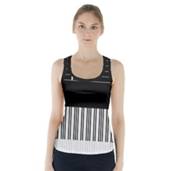 Piano Keyboard With Notes Vector Racer Back Sports Top