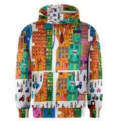 Painted Autos City Skyscrapers Men s Pullover Hoodie