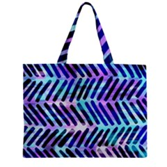 Blue Tribal Chevrons  Zipper Mini Tote Bag by KirstenStar