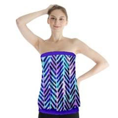Blue Tribal Chevrons  Strapless Top by KirstenStar