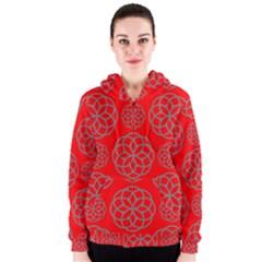 Geometric Circles Seamless Pattern Women s Zipper Hoodie