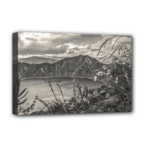Quilotoa Lake Latacunga Ecuador Deluxe Canvas 18  X 12   by dflcprints