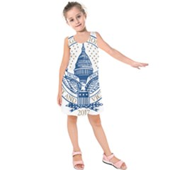 Presidential Inauguration USA Republican President Trump Pence 2017 Logo Kids  Sleeveless Dress by yoursparklingshop