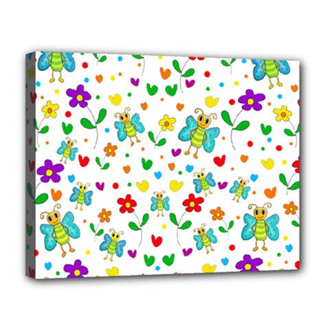 Cute Butterflies And Flowers Pattern Canvas 14  X 11