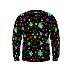 Butterflies And Flowers Pattern Kids  Sweatshirt
