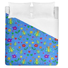 Cute Butterflies And Flowers Pattern   Blue Duvet Cover (queen Size) by Valentinaart