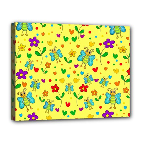 Cute Butterflies And Flowers   Yellow Canvas 14  X 11