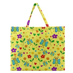 Cute Butterflies And Flowers   Yellow Zipper Large Tote Bag by Valentinaart
