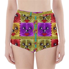 Peace Dogs High Waisted Bikini Bottoms