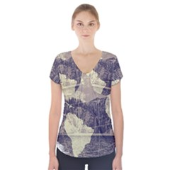 River Globe Short Sleeve Front Detail Top by MTNDesignco